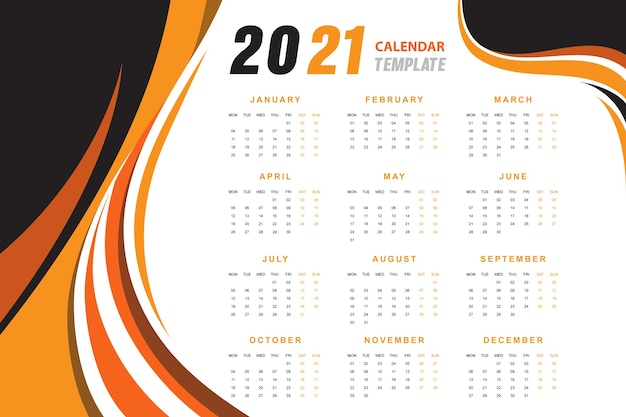 Orange wavy abstract calendar 2021