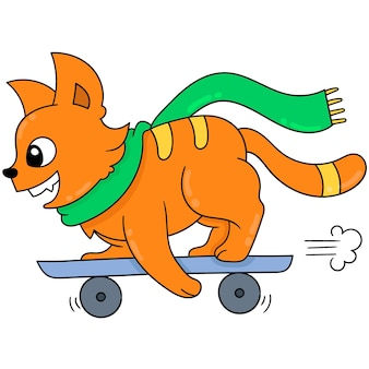 An orange weasel is playing a surfing skateboard, vector illustration art. doodle icon image kawaii.