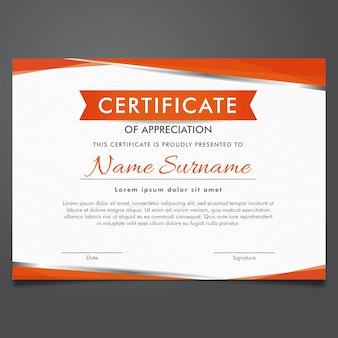 Orange and whit certificate