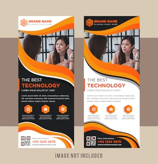 Orange, white, and black roll up banner vector template. vertical layout with space for photo.