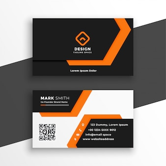 Orange and white geometric business card