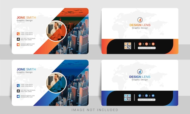 Orange with blue gradient corporate business card