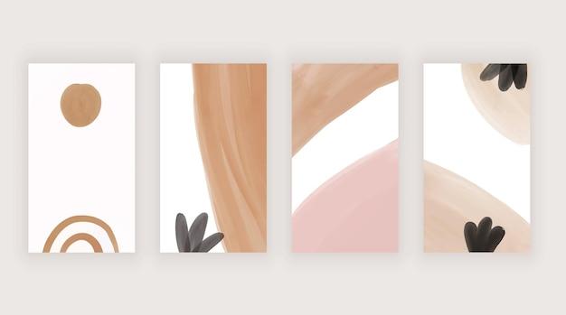 이야기를 위한 갈색 손 그림 수채화 템플릿이 있는 주황색