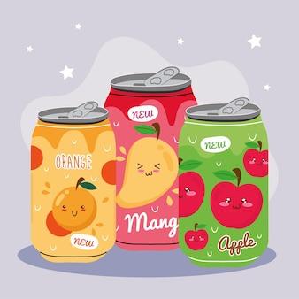 缶製品のマンゴーとリンゴのカワイイジュースフルーツキャラクターとオレンジ