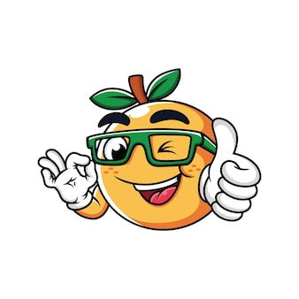 Orange with thumbs up cartoon