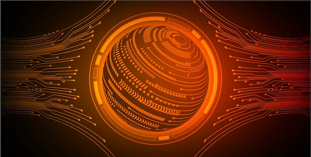 Orange world cyber circuit future technology background