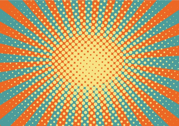 Orange, yellow and blue rays and dots pop art background.