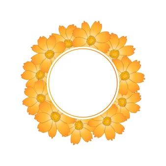 주황색 노란색 코스모스 꽃 배너 화 환