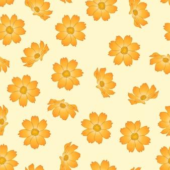 베이지 색 상아 배경에 주황색 노란 코스모스 꽃.