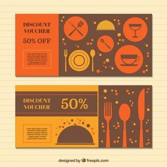 Orange and yellow discount vouchers
