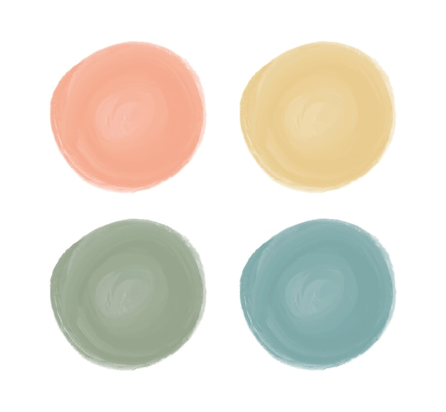 Orange, yellow, green and blue watercolor brush stroke circle shapes