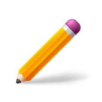 Оранжевый желтый деревянный карандаш с резиновым ластиком
