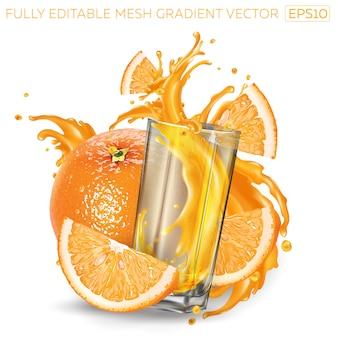 オレンジとはねかけるフルーツジュースのガラス。