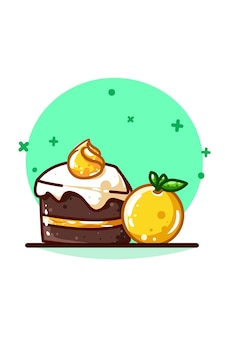 크림을 곁들인 오렌지와 브라우니 케이크