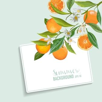 オレンジと花のカード。フルーツの背景