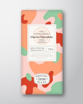 Oranges chocolate label abstract shapes vector packaging design layout with realistic shadows modern...