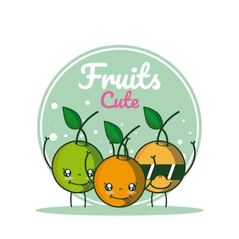 Oranges cute fruits cartoons