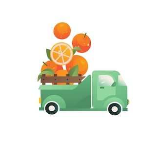 Oranges emblem delivery concept citrus in a truck vector icon funny element for logo packaging
