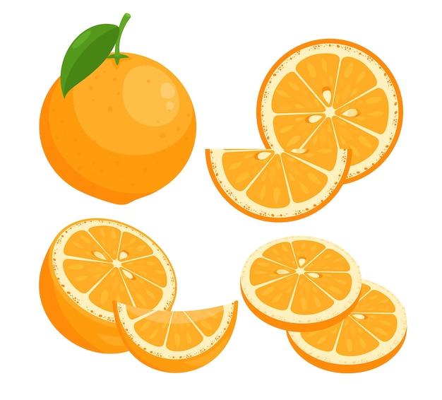 Набор плоских иллюстраций апельсины. сочные спелые цитрусовые целиком в кожуре с кусочками листовых свежих фруктов