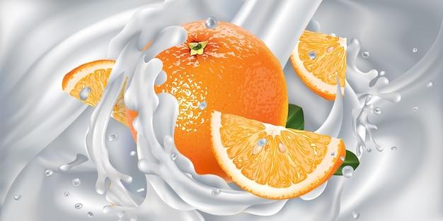 Апельсины в брызгах из струи льющегося кефира или молока. реалистичная иллюстрация.