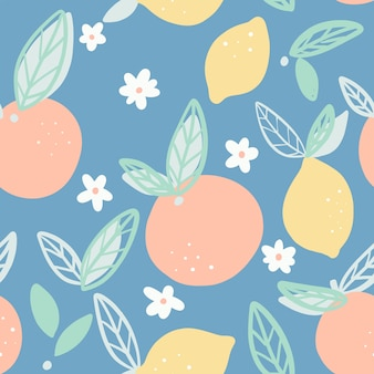 Oranges and lemons seamless pattern with leaves vector.