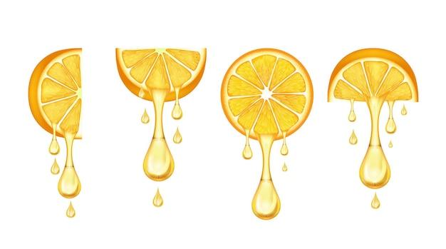 오렌지 슬라이스는 잎과 주스 한 방울이 있는 현실적인 감귤 슬라이스 세트