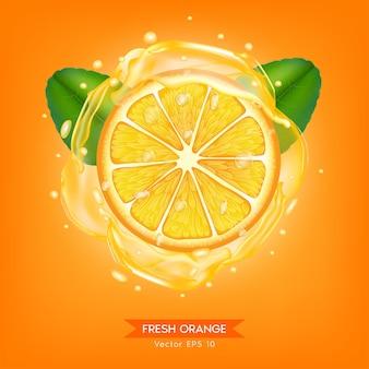 Ломтик апельсина реалистичный набор цитрусовых с листьями и каплями сока