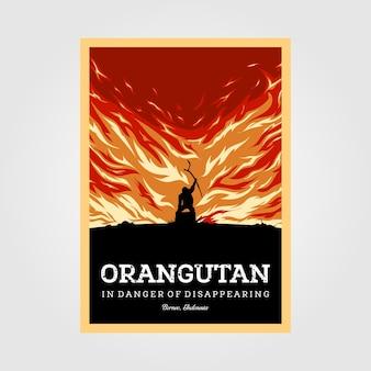 사라지는 빈티지 포스터 일러스트 디자인의 위험에 처한 오랑우탄