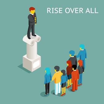 Публичное выступление оратора. плоская изометрическая конференция или презентация, спикер и лидер поднимаются над всеми, ведущий на колонке.