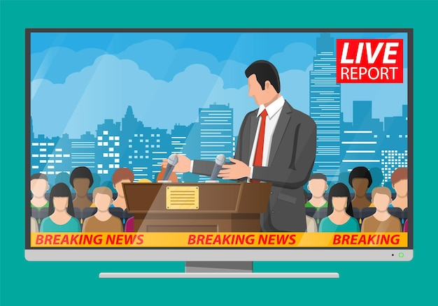Orator speaking from tribune. public speaker. wooden rostrum with microphones for presentation. stand, podium for conferences, lectures debates. crowd, demonstrators, protest. flat vector illustration