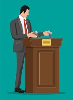 Orator speaking from tribune. public speaker. wooden rostrum with microphones for presentation. stand, podium for conferences, lectures debates. political and ballot. flat vector illustration