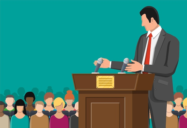 Orator speaking from tribune. wooden rostrum with microphones for presentation.