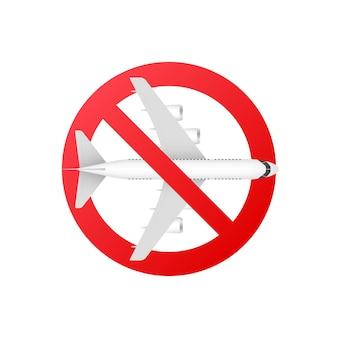 비행기 모양 아이콘으로 orbidden 기호입니다. 실루엣 기호를 중지합니다. 벡터 일러스트 레이 션.