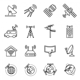Orbit satellite icons set. thin line style stock vector.