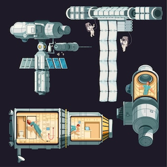 Цветная композиция орбитальной международной космической станции, разобранная на несколько комнат сегментов и иллюстрации различных передатчиков