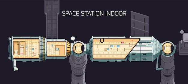 Внутренняя композиция орбитальной международной космической станции, и вы можете посмотреть на помещение станции изнутри иллюстрации Premium векторы