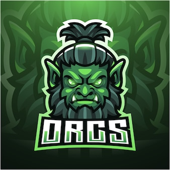 Дизайн логотипа талисмана орка киберспорта