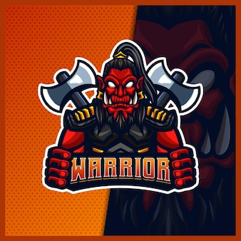 Orc viking gladiator mascot esport logo illustrations template, orc with axe cartoon style