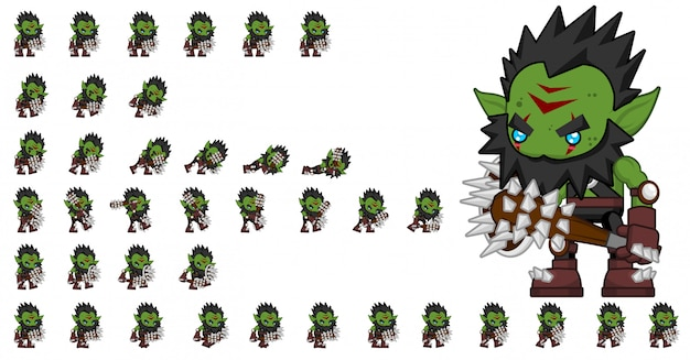 Orc warrior game sprites