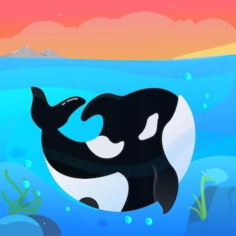 Косатка животных счастливо на берегу океана