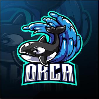 Orca esport талисман дизайн логотипа