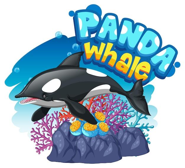 Personaggio dei cartoni animati di orca o killer whale con banner carattere panda whale isolato