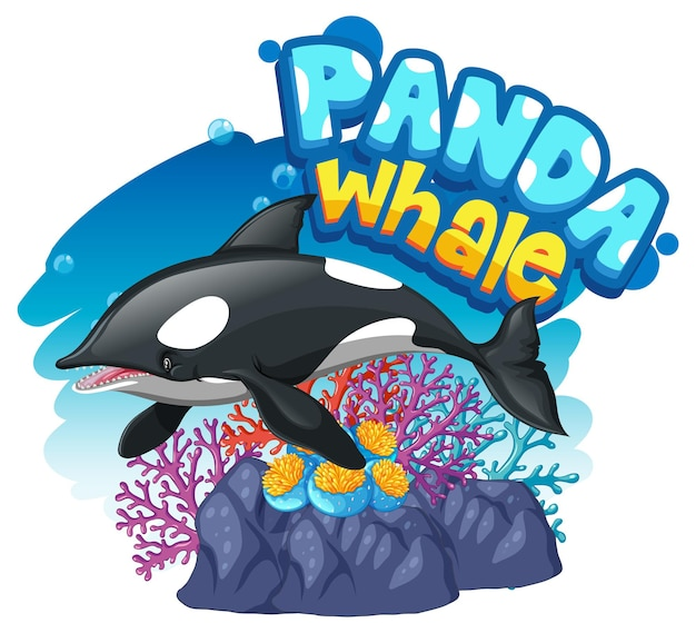 팬더 고래 글꼴 배너가 격리된 범고래 또는 범고래 만화 캐릭터