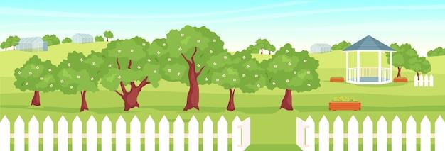 과수원 평면 컬러 일러스트입니다. 전망대와 배경에 온실 아름다운 정원 2d 만화 풍경입니다. 시골 생활 방식, 과일 성장. 피는 나무가있는 전원 풍경