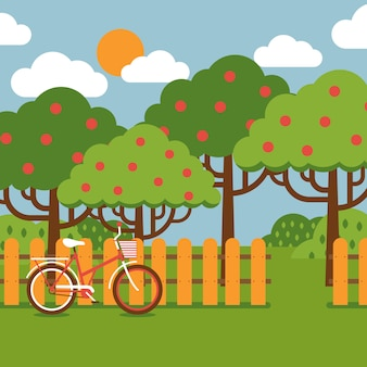 Orchard landscape in flat style