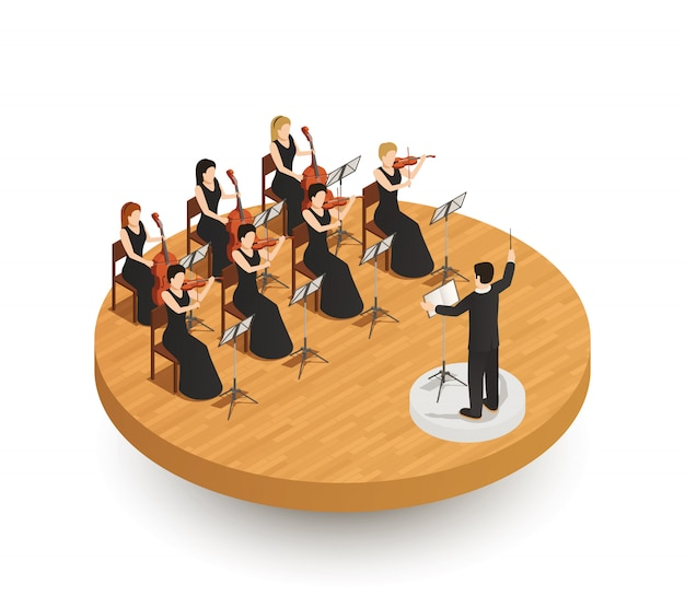 Orchestra isometric composition