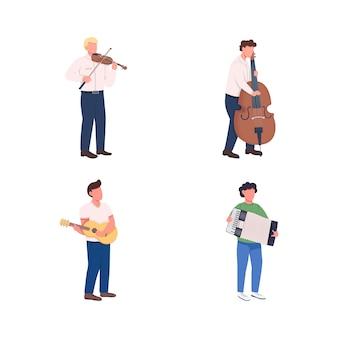オーケストラミュージシャンフラットカラーフェイスレスキャラクターセット。メロディーを弾きます。クラシック楽器プレーヤーは、webグラフィックデザインとアニメーションコレクションの漫画イラストを分離しました