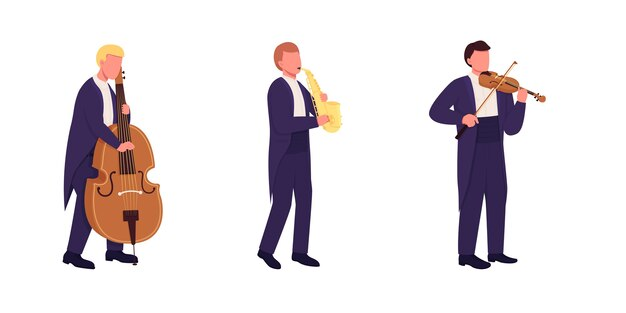 Orchestra musicians with musical instruments flat color faceless character set. classical music performance isolated cartoon illustration for web graphic design and animation collection