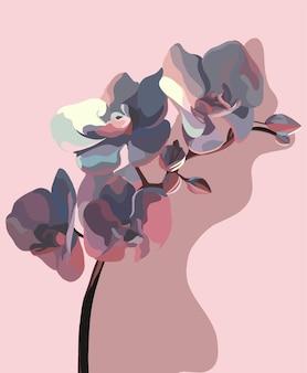 蘭とその影。ベクトルファッションイラスト。