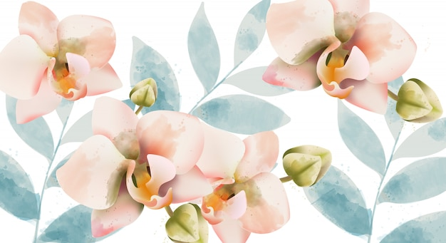 Orchid bouquet background. watercolor. spring flowers. vintage wedding card